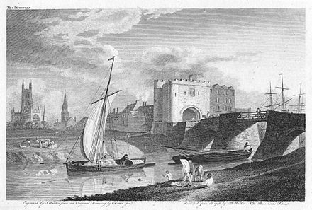 Cargo boats known as trows navigating under a bridge at Gloucester Gloucester c1798.jpg