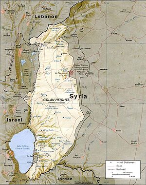 Quneitra - Map of the Golan Heights as of 1989, illustrating the location of Quneitra and the surrounding area.