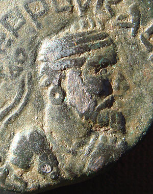 Indo-Parthian Kingdom - Portrait on Gondophares on one of his coins.
