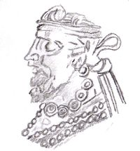 Profile of king Gondophares, founder of the Indo-Parthian kingdom, according to his clearest coins.