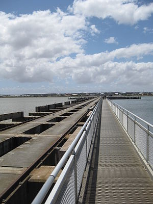 Goolwa Barrages - Goolwa Barrage viewed from the walkway - note the discoloured freshwater on the left hand side