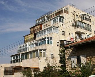 Sukkah - Sukkot on graded apartment balconies in Jerusalem