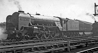 Grantham railway station - Thompson Class A2 on Grantham Shed, on a spring day in 1947