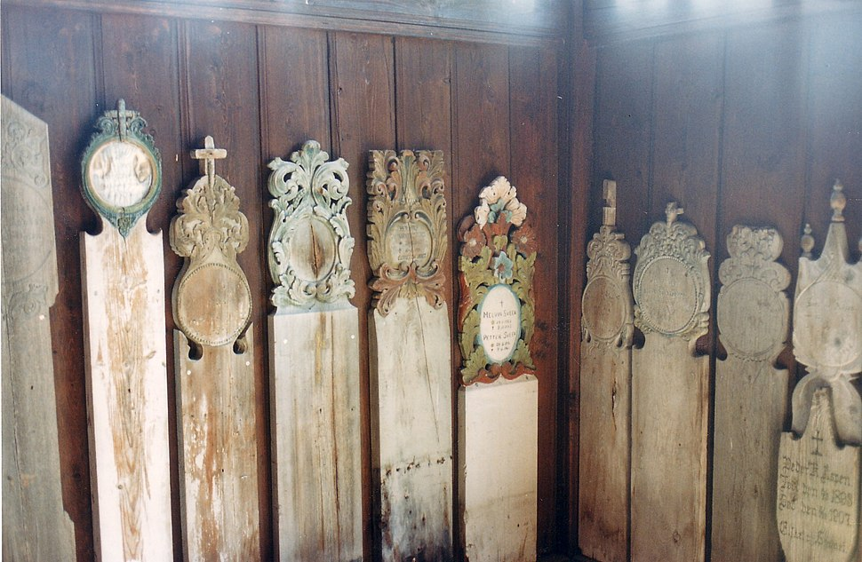 Grave markers in Heidal Church, Norway