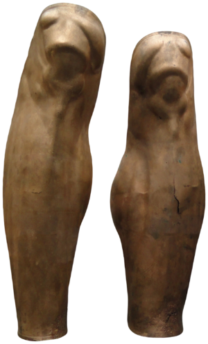 "Greave - Greek greaves of ""Denda"", c. 500 BC, Staatliche Antikensammlungen (Inv. 4330)."
