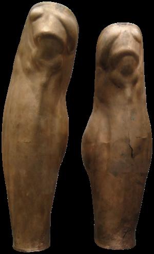 """Greave - Greek greaves of """"Denda"""", c. 500 BC, Staatliche Antikensammlungen (Inv. 4330)."""