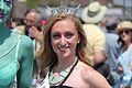 Green woman with Princess at Coney Island Mermaid Parade 2013.jpg
