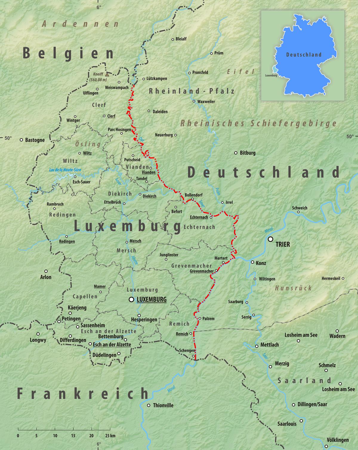 landkarte deutschland luxemburg Grenze zwischen Deutschland und Luxemburg – Wikipedia