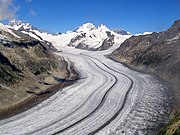The Aletsch Glacier, largest in the Alps