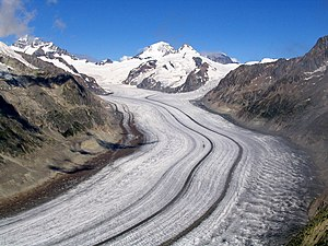 Glacier - The Aletsch Glacier, the largest glacier of the Alps, in Switzerland