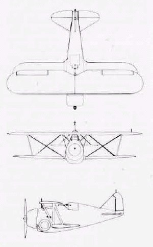 Grumman F2F - Three-view drawing of Grumman F2F-1