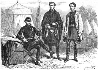 Gaston, Count of Eu - War against Paraguay: The Emperor of Brazil with his two sons-in-law, the Duke of Saxe-Coburg and Gotha and the Count of Eu, in Alegrete, southern Brazil (L'Illustration journal universel, Vol. XLVL, nº 1.186, 1865).