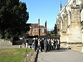 Guided tour outside Winchester Cathedral - geograph.org.uk - 1165640.jpg