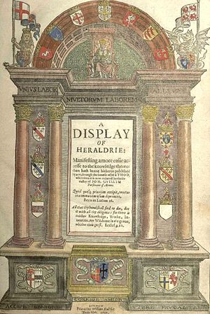 John Guillim - Hand-colored frontispiece of John Guillim's landmark work, A Display of Heraldrie