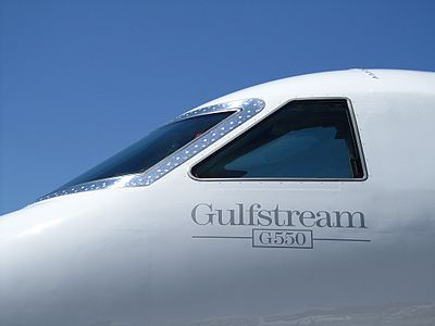 A closer view to the cockpit of a Gulfstream G550. Absolute clean aircraft and a great blue sky.