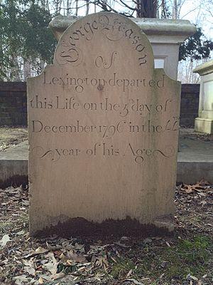 George Mason V - Gravestone at Mason's interment site in the Mason Family Cemetery at Gunston Hall.