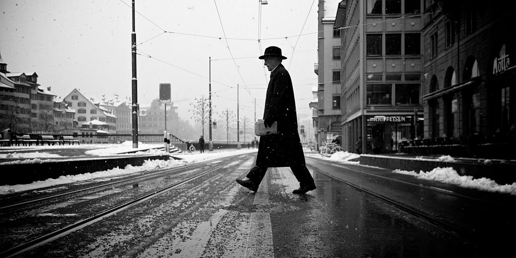 Guy crossing a street