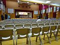 HK 福建中學 FSS FKSSch Fukien Secondary School grand hall interior row grey plastic chairs Sept 2016 DSC 01.jpg