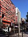 HK YMT Yau Ma Tei Nathan Road view 平安大廈 Alhambra Building n traffic light Jan-2014.JPG
