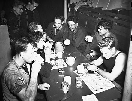 Stand easy in the stoker's mess of the corvette HMCS Kamsack HMCSKamsackStokersMessFeb1943.jpg