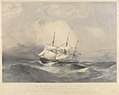 HMS Calcutta 84 guns, in a gale on the 22nd April 1858, in the Gulf of Pechili, China. Dedicated by permission to His Excellency Rear Admiral Sir Michael Seymour KCB, Commander in Chief of the East India and China RMG PY0844.jpg