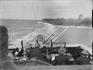 Second Battle of Sirte - Image: HMS Cleopatra smoke