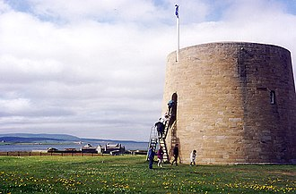South Walls - Hackness martello tower, one of a pair on either side of Longhope, built in 1814