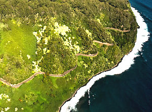 Hana Highway - Aerial view of the Hāna Highway