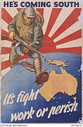 Karikatur av japansk soldat som går mot Australia