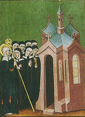 Hedwig of Silesia - Scene from an altar of St. Hedwig of Silesia, Breslau around 1430, restored in 1929, National Museum Warsaw