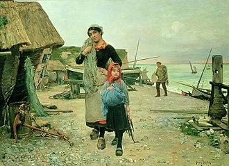 Henry Bacon (painter) - Image: Henry Bacon Fisherfolk Returning with their Nets Etretat