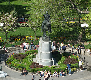 George Washington (Brown) - The statue in its current location in the middle of the park