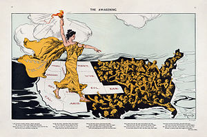 Alice Duer Miller - Illustration for one of Miller's suffragist poems, as published in Puck in 1915, showing women's suffrage moving east from the states in the west that had first adopted it.