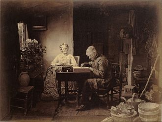 Combination printing - Henry Peach Robinson's When the Day's Work is Done, 1877.  A combination print made from six different negatives.