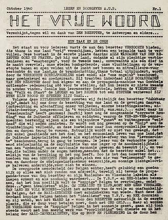 Ernest Mandel - Het Vrije Woord, October 1940
