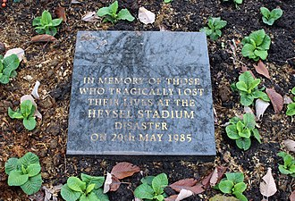 Heysel Stadium disaster - Memorial in St John's Gardens, Liverpool