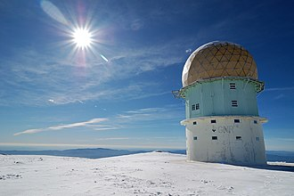 Serra da Estrela - Dome of an old radar station in the highest point of Estrela Mountain on a winter's day.