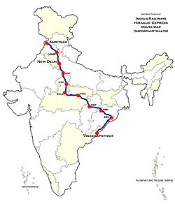 Hirakud (Hirakund) Express Route map.jpg