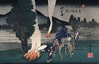 Hiroshige Travellers lighting their pipes by a fire.jpg