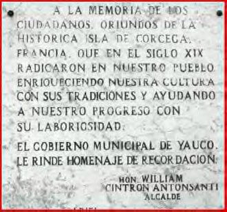 Corsican immigration to Puerto Rico - Memorial dedicated to the Corsicans in Yauco