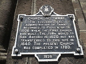 Tanay Church - The historical marker in Tanay Church