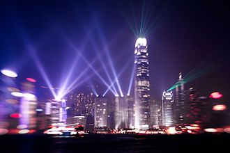 Light beam - A Symphony of Lights in Victoria Harbour, Hong Kong