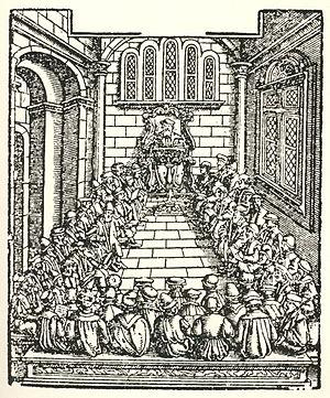 History of Heidelberg University - Hohe Schul zu Heydelberg. Heidelberg University, woodprint from the Cosmographia Universalis of Sebastian Münster, 1550.