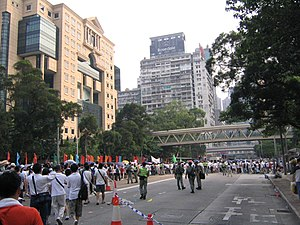 Hong Kong 1 July marches - Hong Kongers walked out of their holiday (photo taken outside Hong Kong Central Library)