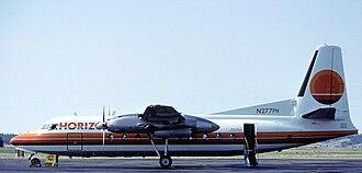 Horizon Air - A Horizon Air Fairchild F-27 at Spokane International Airport. (1993)