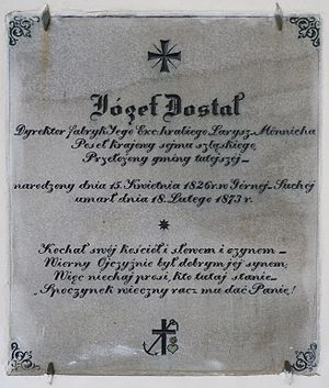 Horní Suchá - Memorial tablet of Józef Dostal, Catholic Church