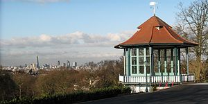 Forest Hill, London - View of the London skyline from the Horniman Museum garden