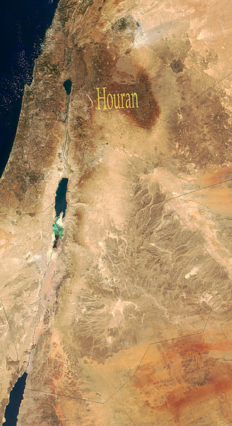 Hauran - A satellite view of the southern Levant with the Hauran region highlighted