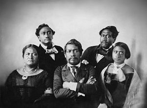 ʻIolani Palace - Kamehameha III with Queen Kamala to the left and Victoria Kamāmalu (original owner of the first palace) to the right with future monarchs Kamehameha IV, top left and Kamehameha V, top right