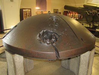 Siege of Antwerp (1914) - Antwerp cupola with 305 mm shell hit. (Heeresgeschichtliches Museum, Vienna)